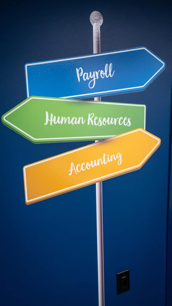Axcet payroll human resources accounting crossroads sign