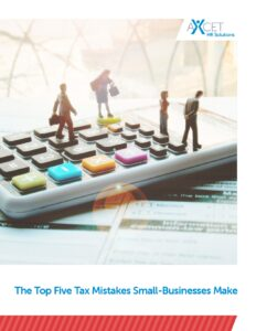 The Top 5 Tax Mistakes Small Businesses Make calculator with people on top of it